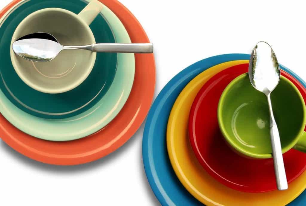 vaisselle, cuillère, coloré