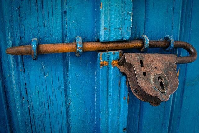 serrure, porte , bleu, loquet