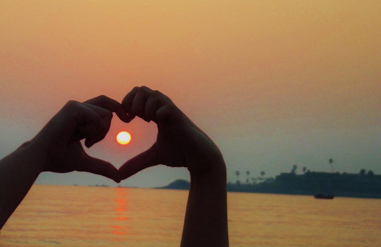 Coeur, coucher de soleil
