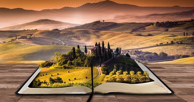 livre, paysage, rêve, surréaliste