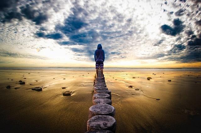 horizon, homme, paysage