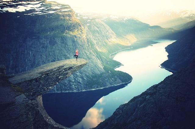 défi, canyon, beauté, yoga