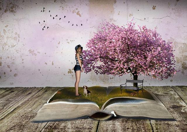 arbre, livre, paysage, femme