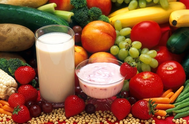 lait, fruits, légumes